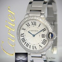 Cartier Ballon Bleu Steel Diamond Midsize Quartz Watch...