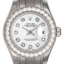Rolex Ladies Diamond Pearlmaster 18k White Gold Watch 80299