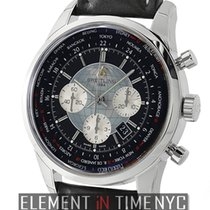 Breitling Transocean Chronograph Unitime Steel Black Dial
