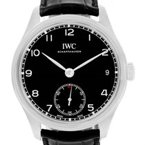 IWC Portuguese Hand Wound 8 Days Black Dial Mens Watch...