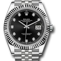 Rolex Date just black diamond dial fluted bezel 126334 bkdj