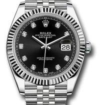 Rolex Date just black diamond dial fluted bezel 126334 bkdj