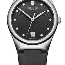 Victorinox Swiss Army Victoria Steel Womens Satin Strap Watch...