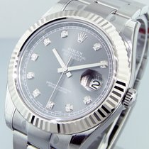 Rolex Datejust Ll 116334  41 Mm Mens Steel Rhodium Diamond...