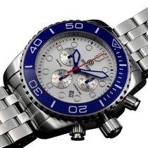 Deep Blue Sea Ram 500 Chrono Diving Watch Swiss Wht Bezel Wht...