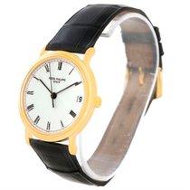 Patek Philippe Calatrava 18k Yellow Gold Black Strap Watch 3802