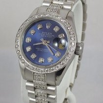 Rolex Datejust 69173 Womens 18k White Gold President Diamond...