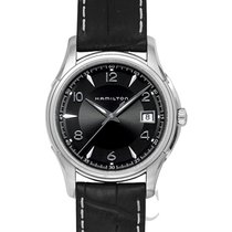 Hamilton Jazzmaster Gent Quartz Black Steel/Leather 38mm -...