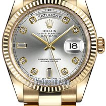Rolex Day-Date 36mm Yellow Gold Fluted Bezel 118238 Silver...