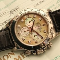 Rolex daytona white gold zenith yellow mop diamonds RARE b/p