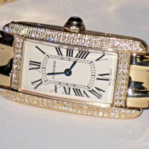Cartier Tank Americaine American 18K Solid Gold Diamonds
