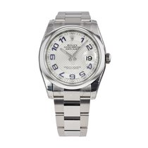 Rolex DATEJUST 36mm Stainless Steel Silver Blue Arabic Dial