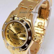 Rolex 29mm Pearlmaster 18k Yellow Gold & Diamond Ladies...