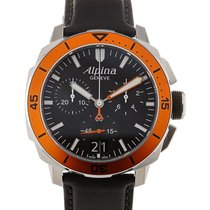 Alpina Seastrong Diver 44 Chronograph Black Leather Strap