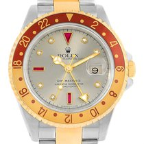 Rolex Gmt Master Ii Mens Rootbeer Serti Yellow Gold Steel...