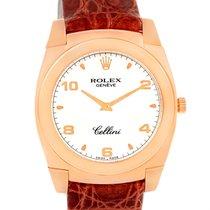 Rolex Cellini Cestello Rose Gold White Dial Brown Strap Watch...