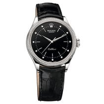 Rolex 50609 Cellini Black Diam Dial Diam Bezel White Gold