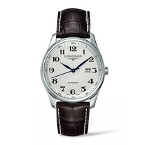 Longines Master Collection Silver Dial Brown Alligator Leather...