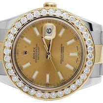 Rolex Mens Rolex Datejust II 41MM 116333 Two Tone Diamond...