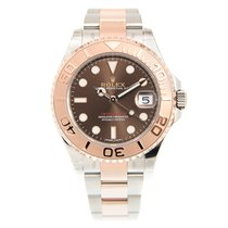 Rolex Yacht Master II 18k Rose Gold And Steel Brown Automatic...