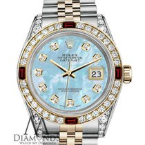 Rolex Womens Rolex Steel & Gold 36mm Datejust Baby Blue...