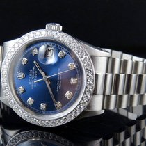 Rolex Mens Stainless Steel Rolex Datejust Blue Presidential...