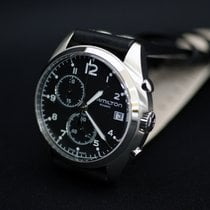 Hamilton KHAKI AVIATION PILOT PIONEER CHRONO QUARZO Black Leather