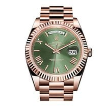 Ρολεξ (Rolex) Rose Gold Day Date green Roman Dial New