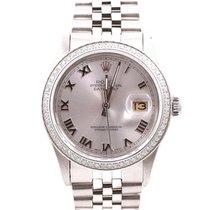 Rolex Mens Quickset Datejust - Silver Roman Numeral Dial  -...