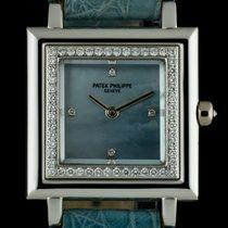 Patek Philippe 18k W/G Blue MOP Dial Diamond Set Gondolo...