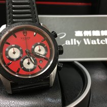 Tudor Cally - 42010N Fastrider Black Shield Red Dial Leather...