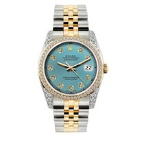 Rolex Datejust Men's 36mm Iced Blue Dial Gold And Stainles...