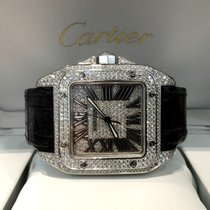 Cartier Santos 100 XL Steel Full Diamonds 51 x 40 mm