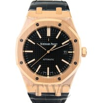 Audemars Piguet Royal Oak Selfwinding Black 18k pink gold/Leat...