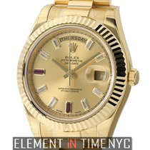 Rolex Day-Date II President 18k Yellow Gold Baguette Diamond...