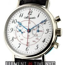 Breguet Classique Chronograph 18k WG White Enamel Dial
