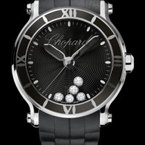 Chopard Happy Sport 42mm Quartz  Black Dial With Diamonds T