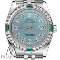 Rolex Ladies Rolex 36mm Datejust Ice Blue String Diamond...
