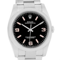 Rolex No Date Mens Black Dial Pink Hour Markers Steel Watch...