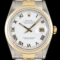 Rolex Steel & Gold White Roman Dial Datejust Gents 16233