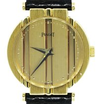 Piaget 8263 18k  Gold Polo Leather Strap Watch