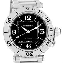 Cartier Pasha Seatimer Black Dial Stainless Steel Watch W31077m7