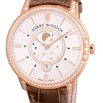 Harry Winston Midnight Moon Phase Rose Gold with Diamond Bezel...