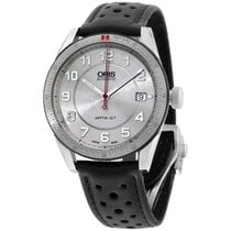 Oris Silver Dial Black Leather Strap Men's Watch 733767144...