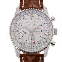 Breitling Navitimer World 46 Chronograph Silver Dial Brown...
