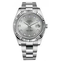 Rolex Datejust II 116334 Stainless Steel Oyster Band White...