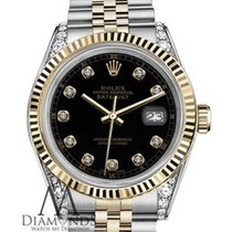 Rolex 16013 36mm Datejust 18k Yellow Gold Ss Two-tone Black...