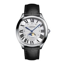 Cartier Drive Moon Phases Silver Dial Mens Watch Ref WSNM0008