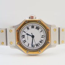 Cartier Santos Octagon 18k Gold Steel 24mm Automatic