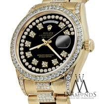 Rolex Presidential Day Date Black String Dial Diamond Watch 18...